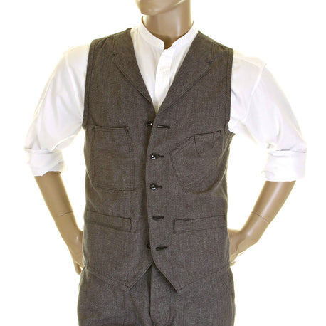 Sugar Cane Mens Vintage Cut Style Cover Engineer Cotton Waistcoat Vest