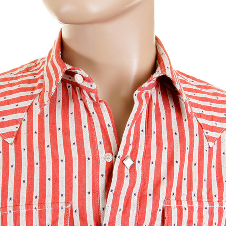 Sugarcane Regular Fit Star Dobby Striped Red and Off White Long Sleeve Shirt