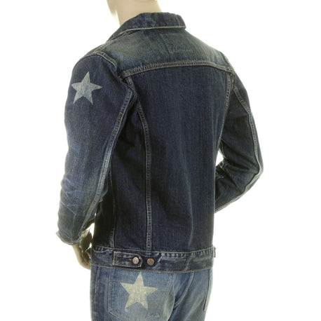 Sugar Cane Mens Dark Hard Wash Lone Star Denim Jacket
