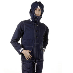 Sugarcane Lightweight Full Zip Regular Fit Navy Herringbone Hooded Jacket