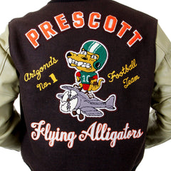 Whitesville Brown Regular Fit Flying Alligators Stadium Jacket