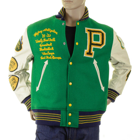 Whitesville Green Flying Aliigators Stadium Jacket with White Sleeves