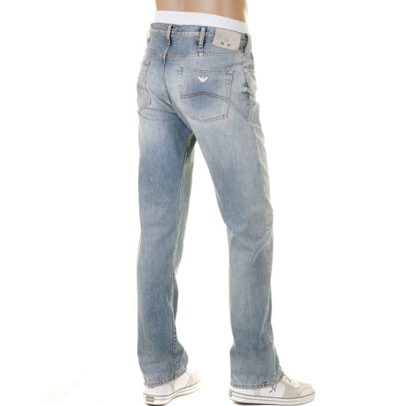 Armani Jeans J21 regular fit. Bleached, worn, vintage denim finish