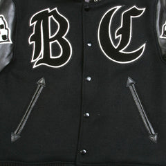 Whitesville Letterman Jacket Black Body Black Raglan Sleeve Crank Buster Regular Fit Jacket
