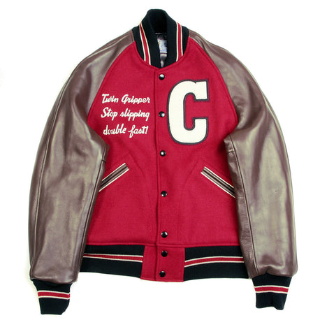 Whitesville Red Body Brown Raglan Sleeve Jacket Regular Fit Cats Paw Letterman Jacket