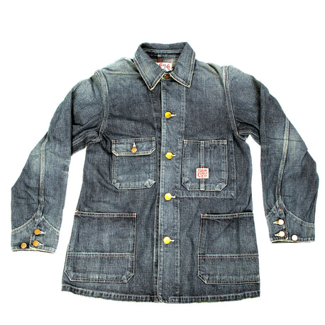Sugar Cane Mens Regular Fit Hard Wash Vintage Cut Denim Work Coat