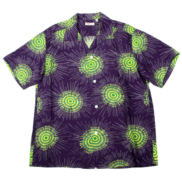 Sun Surf Mens Hawaiian Navy Blue Shirt with Fireworks Print