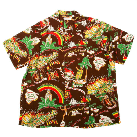Sun Surf Hawaiian Shirt Brown with History of the Islands Print