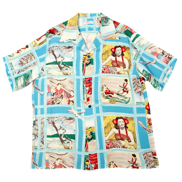 Sun Surf Mens Hawaiian Blue Cuban Collar Shirt with Fly to the Paradise Print