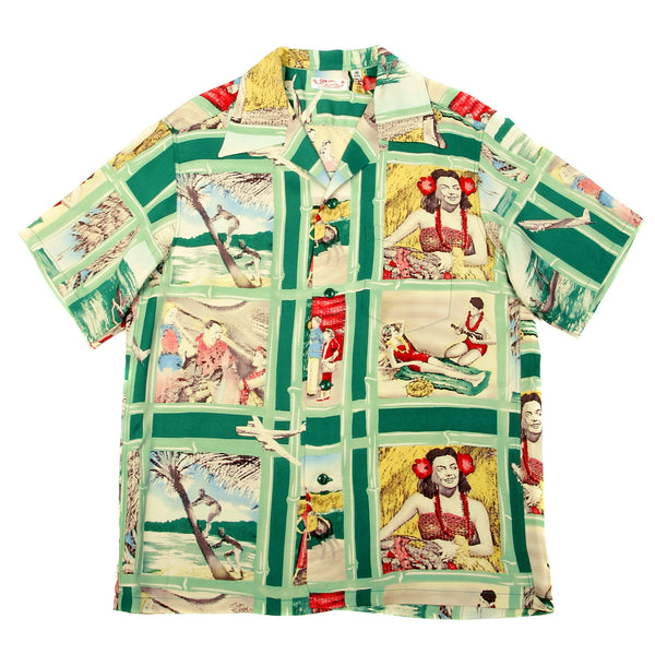Sun Surf Mens Green Vintage Hawaiian Shirt with Fly to the Paradise Print