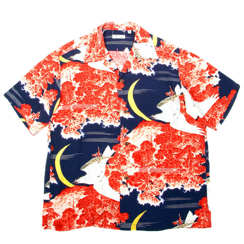 Hawaiian Shirt Sun Surf Navy Blue Falcon and Aloha Moon Print