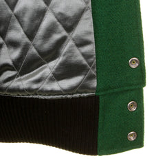 Whitesville Dark Green Body with Black Leather Sleeve WV12310 Regular Fit Varsity Jacket - Kitmeout