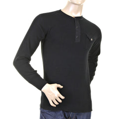 Sugarcane Black Fiction Romance Regular Fit Henley Neck Long Sleeve T-shirt