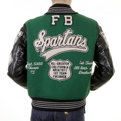 Sugarcane Letterman Green and Black Spartans Stadium Award Jacket