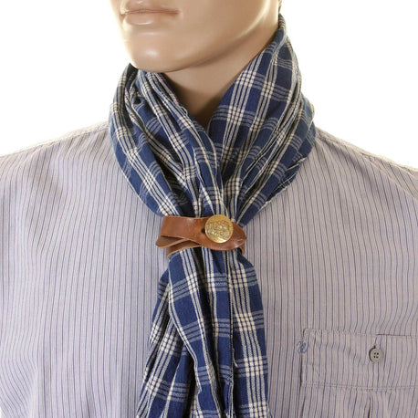 Sugar Cane Blue Palaka One Wash Vintage Cut Stole for Men with Stole Ring