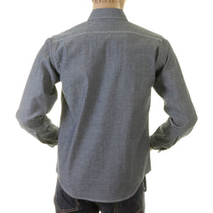 Sugar Cane Navy Chambray Vintage Cut Regular Fit Long Sleeve Shirt for Men