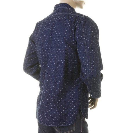 Sugarcane Shirt Fiction Romance Navy Vintage Cut Regular Fit Long Sleeve