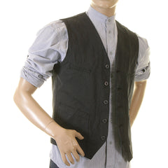 Sugarcane Striped Black Cotton Vintage Cut Regular Fit Work Vest for Men