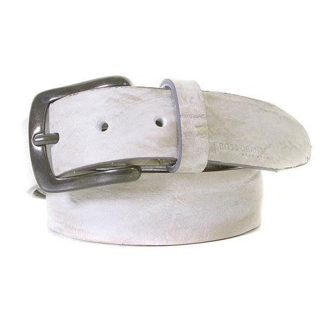 Grey belt by Boss Orange Label. Made in Italy with signature Boss logo