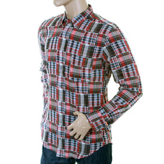 Hugo Boss Orange Label men's EquatorE shirt cherry blue and grey mini check