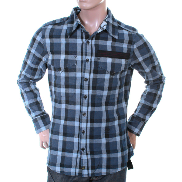 Vivienne Westwood Anglomania mens  blue check military shirt - Kitmeout