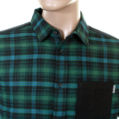 Carhartt mens navy and green Elford leek check shirt