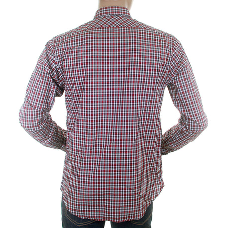Scotch & Soda mens wine check button down collar shirt