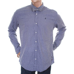 Scotch & Soda mens navy check button down collar shirt