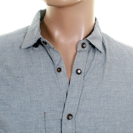 Scotch & Soda mens denim blue studded button shirt
