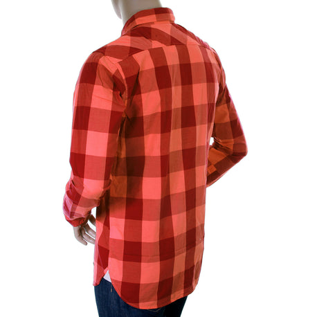 Scotch & Soda mens orange and crimson big check shirt