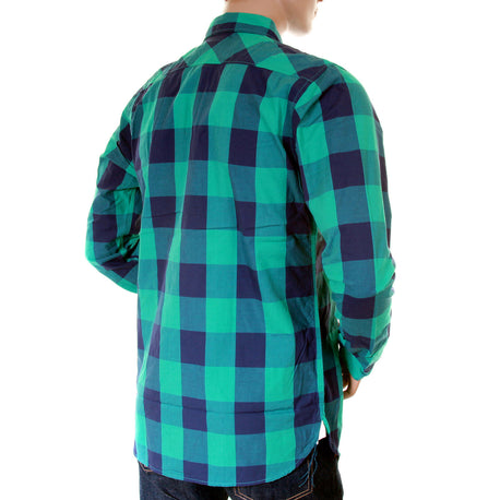 Scotch & Soda mens green and blue big check shirt