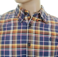 Scotch & Soda mens blue check antique wash oxford shirt