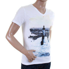 White Hugo Boss Orange Label men's printed V neck T shirt