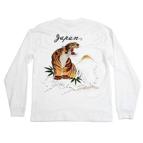 Sugar Cane White Long Sleeve T-Shirt with Tiger Embroidery