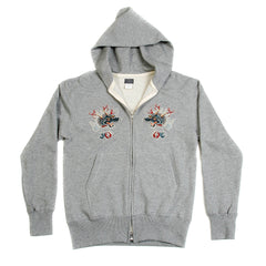 Sugar Cane Slim Fit Hooded Marl Grey Sweatshirt