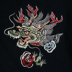 Sugar Cane  Slim Fit Black Sweatshirt Hoodie with Hells Dragon Embroidery