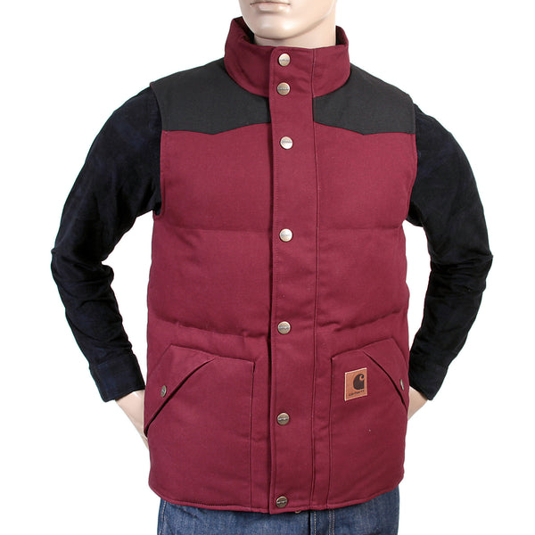 Carhartt mens cranberry with black Douglas padded gillet - Kitmeout