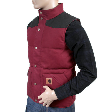 Carhartt mens cranberry with black Douglas padded gillet