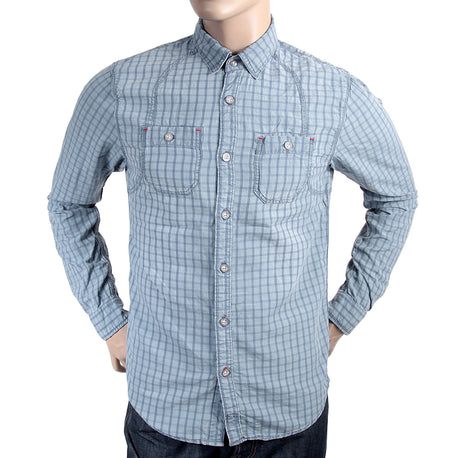 Scotch & Soda mens blue check long sleeve casual shirt