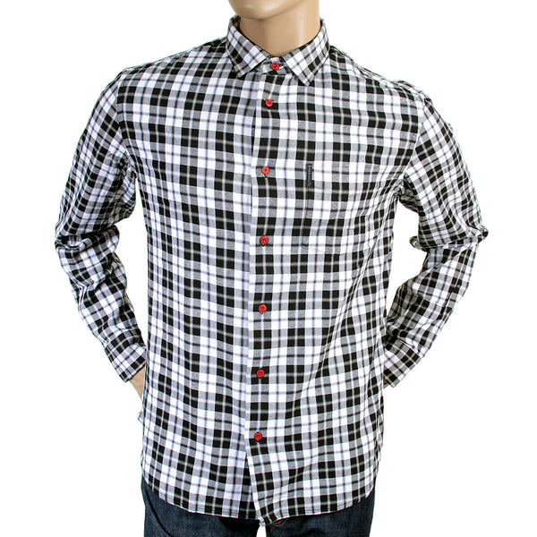 Armani men's smoke grey check long sleeve shirt