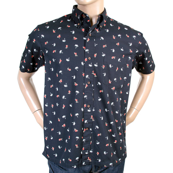 Sun Surf Mens Navy Blue Aloha Hula Dancer Oxford Shirt