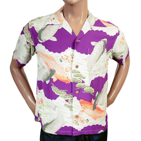 Sun Surf Men's Purple Rayon Koi Hawaiian Shirt