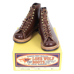 Lone Wolf Mens Brown Goodyear Welted Lace Up Wireman Work Boots
