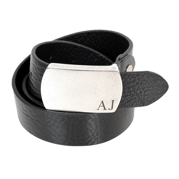 Made in Italy men's Armani black belt with embossed AJ logo