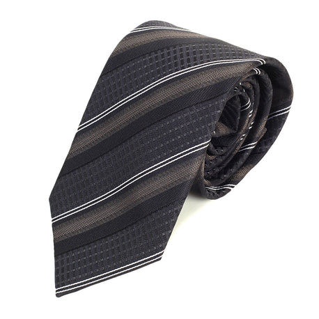 Made in Italy Hugo Boss mens black and brown striped silk tie