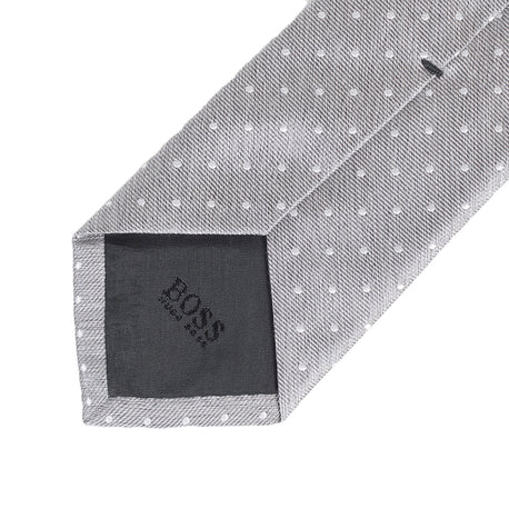 Made in Italy Hugo Boss men's grey pin dot silk tie