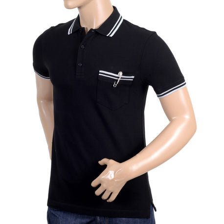 Mens black piquet polo by Versace
