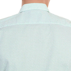 Short sleeve Boss slim fit men's shirt. Mini green diamond jacquard pattern