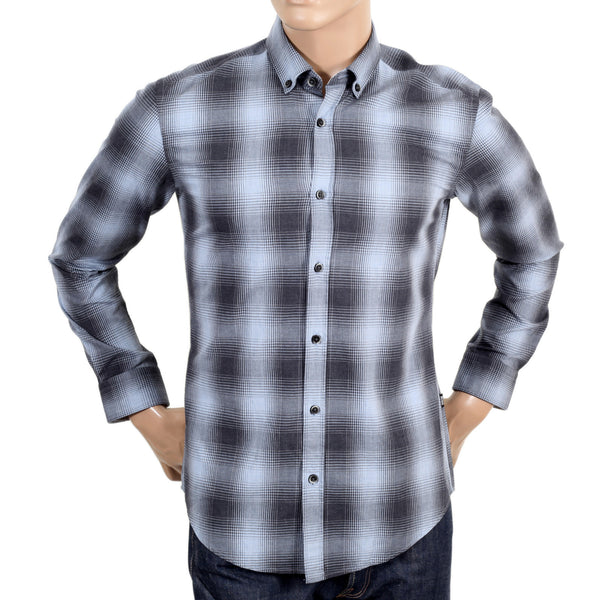 100% Cotton Boss Black men's check shirt in grey and blue