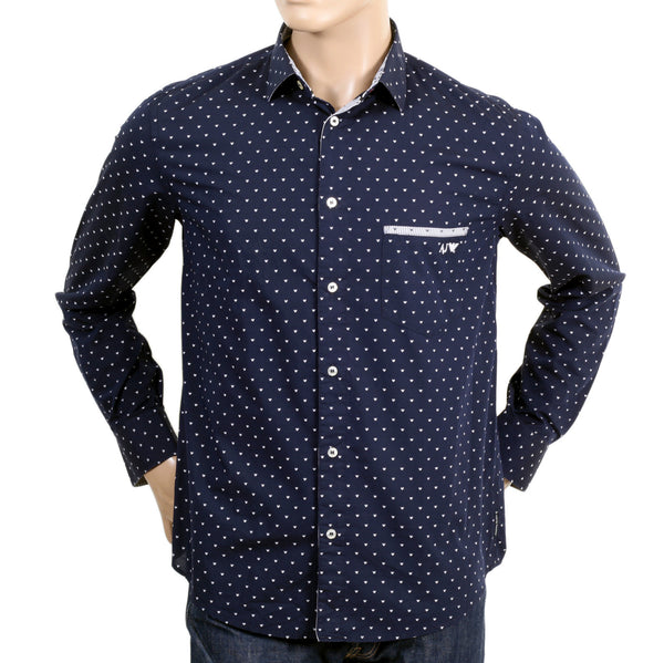 100% cotton navy shirt for men by Armani Jeans - Kitmeout